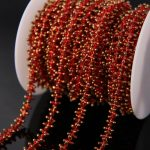 5Meter/sell plated Brass Wire Wrapped Chain,Red Cube Beads Rosary style Chain Necklace bracelet <b>Jewelry</b> <b>making</b>
