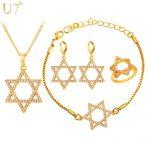 U7 Jewish <b>Jewelry</b> Magen Star of David <b>Necklace</b> Bracelet Ring And Earrings Gold Color Israel Wedding Bridal <b>Jewelry</b> Sets S868