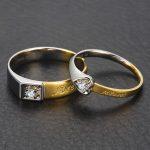 18K Two-Tone Gold Diamond Wedding Band Couple Ring Set 0.04+0.07ct <b>Handmade</b> Engagement Diamond <b>Jewelry</b>