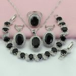 WPAITKYS Oval Black Cubic Zirconia <b>Silver</b> Color Bridal Jewelry Sets For Women Drop Earrings <b>Bracelet</b> Necklace Ring Free Gift Box