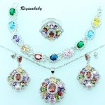 Reginababy Multi Gems Jewelry Sets For Women <b>Silver</b> Color Overlay Crystal Wedding <b>Bracelet</b>/Necklace/Earrings/Ring/Pendant