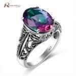 Luxury Fashion Mystic Fire Rainbow Topaz Crystal Ring Weddings <b>Handmade</b> Engagement Ring Pure 925 Silver <b>Jewelry</b> For Women Bijoux