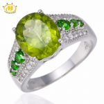 Hutang 3.69ct Natural Gemstone Peridot & Chrome Diopside Solid 925 <b>Sterling</b> <b>Silver</b> Wedding Ring Fine <b>Jewelry</b> For Women's Gift