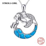 2018 hot sale 925 sterling silver Mermaid chain pendant&necklace with CZ&blue enamel diy fashion <b>jewelry</b> <b>making</b> for women gifts