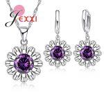 Giemi Cubic Zircon Pendant Necklace Dangle Earrings Sets 8 Colors 925 Sterling Silver Flower <b>Jewelry</b> Set Woman <b>Wedding</b> Bijoux