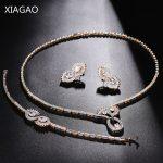 XIAGAO Dubai <b>Jewelry</b> Sets Zircons Big Carat Round CZ Crystal <b>Necklace</b> Earrings Bracelet Women Luxury Bridal Wedding Jewellery