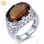 Hutang Huge Natural Smoky Quartz Filigree Cocktail Engagement Ring Solid Sterling <b>Silver</b> 925 Gemstone Fine Stone <b>Jewelry</b> Gift