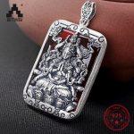 S925 Sliver Buddha Jade Inlaid Men and Women Pendant Necklace Different Colors Pendant Retro Fashion sliver Pendant <b>Jewelry</b>