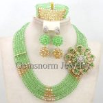 Pretty Lime Green Costume African <b>Jewelry</b> Set Nigerian Party Beads <b>Necklace</b> Set Green Beaded <b>Jewelry</b> Free Shipping WB673