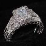 Vintage <b>Jewelry</b> <b>Handmade</b> 10KT White Gold Filled Princess Cut AAA Cubic Zirconia Square Retro Women Wedding Bridal Ring Set Gift