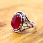 The character of silver 925 silver <b>jewelry</b> <b>handmade</b> lady Thailand folk style red corundum Ring NEW