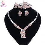 New Fashion African Women <b>Silver</b> Color Wedding Jewelry Sets Dubai Vintage Crystal Necklaces <b>Bracelet</b> Ring Earrings Jewellery