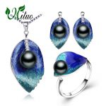 MITUO Pearl Jewelry sets 925 Sterling <b>Silver</b> stud <b>earrings</b>,natural Pearl leaf necklace for women love bohemia <b>earrings</b> ring