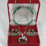 Green Jades <b>Bracelet</b> Bangle Pendant Earring Jades Jewelry Set>>> Free shipping