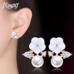 JYouHF 2018 New 925 Sterling Silver Stud Earrings for Women Casual Holiday <b>Jewelry</b> Flower Earrings with Pearl Dress <b>Accessories</b>