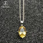 TBJ,Natural 6ct Brazil good color citrine gemstone pendant with chains in 925 sterling <b>silver</b> gemstone <b>jewelry</b> with gift box