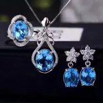 LANZYO 925 sterling <b>silver</b> blue topaz Jewelry Sets Fine Jewelry Ring Necklace Pendant <b>Earring</b> Women Bridal tz0911agb