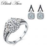 [BLACK AWN] 925 Sterling <b>Silver</b> Fine Jewelry Sets Trendy Engagement <b>Earring</b> for Women Wedding Ring TR150