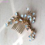 Jonnafe Small Opal Crystal Hair Comb Bridal Hair Accessories Gold Women Headpiece Handmade Wedding Hair Piece <b>Jewelry</b>