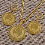 Anniyo Pohnpei Stainless Steel Pendant Necklace Earrings sets for Women Gold Color <b>Jewelry</b> Ethnic Gift #046921