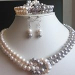 Pearl Jewelry Set 2Rows 7-8MM Natural White Gray Freshwater Pearl Necklace <b>Bracelet</b> Earrings Birthday Wedding Party Gift Jewelry