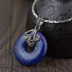 FNJ 925 Silver Round Pendant New Fashion Lapis Lazuli 100% Pure Original S925 Thai Silver Pendants for Women Men <b>Jewelry</b> <b>Making</b>