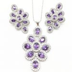 Cubic Zirconia Indian <b>Silver</b> 925 Jewelry Sets For Women purple Big CZ Created pendant Necklace And <b>Earring</b> Ladies