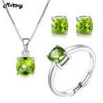 MoBuy Bohemia Style Natural Gemstone Green Peridot 3pcs Jewelry Sets 100% 925 Sterling <b>Silver</b> For Girls Fine Jewelry V018ENR