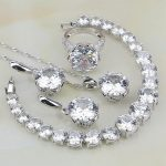 Wholesale 925 Sterling <b>Silver</b> Jewelry White Australian Crystal Jewelry Sets For Women <b>Bracelet</b>/Necklace/Pendant/Earrings/Ring