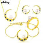 MoBuy Freshwater Pearl Natural Gemstone 4pcs Gold Moon Jewelry Sets 100% 925 Sterling <b>Silver</b> For Women Fine Jewelry V016EHNR