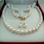 Wholesale!8mm White shell necklace earrings set 18 inch women <b>jewelry</b> <b>making</b> design