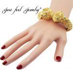 JUST FEEL New India Brass Openable Bangle Bracelet Screw Big Flowers Arab Ethiopian Bangle Gold Color Dubai Africa <b>Jewelry</b> Gift