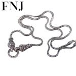FNJ 925 <b>Sterling</b> <b>Silver</b> Necklace 70cm Long Sweater Chain Thai S925 Solid <b>Silver</b> <b>Jewelry</b> Making 40cm Choker for Women Necklaces