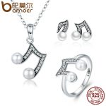 BAMOER Authentic 925 Sterling Silver Set Sparkling Music Melody <b>Necklace</b> Earrings <b>Jewelry</b> Sets Sterling Silver <b>Jewelry</b> ZHS045