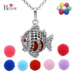 Womens Aromatherapy <b>Jewelry</b> <b>Antique</b> Silver Fish Locket Chime Ball Pendant Chain Necklace Essential Oil Diffuser