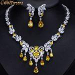 CWWZircons High Quality Yellow Cubic Zirconia African Luxury Tassel Drop Wedding <b>Necklace</b> <b>Jewelry</b> Sets For Brides T290