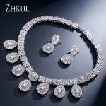ZAKOL Luxury Bridal Wedding Design Water Drop Cubic Zircon <b>Necklace</b>/ Earrings/ Bracelet/ Ring <b>Jewelry</b> Set For Women FSSP231