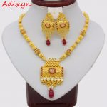 Adixyn Red Corundum Square <b>Necklace</b>/ Earrings <b>Jewelry</b> Set For Women Gold Color Cubic Zirconia Ethiopian Arabic India Items