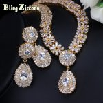 BlingZircons Stunning Dubai Gold Color Cubic Zirconia Heavy Jewellery Set For African Beads Nigerian Wedding <b>Jewelry</b> Sets JS049
