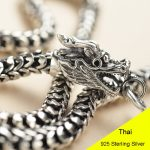 925 <b>Sterling</b> <b>Silver</b> Vintage Thai <b>Silver</b> Retro Men & Women Chain Necklace Fine <b>Jewelry</b> Double Chinese Dargon Scale Chain CH041558