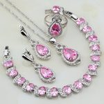 Pink Cubic Zirconia White Zircon 925 Sterling <b>Silver</b> Jewelry Sets For Women Wedding Gift Ring/Pendant/Necklace/<b>Bracelet</b>/Earring
