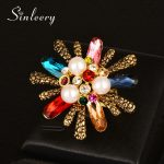 SINLEERY Luxury Big Simulated Pearl & Cubic Zirconia Flower Finger Rings for Women <b>Antique</b> Gold Color Party <b>Jewelry</b> JZ603 SSC