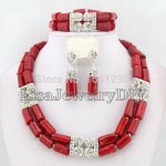 <b>Silver</b> Tone African Coral Beads Jewelry Sets Nigerian Wedding African Bridal Jewelry Sets HD0299