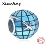 New Arrival silver 925 Charms Map and Planes Enamel Bead Fit Authentic Pandora Bracelets Pendants bead <b>Jewelry</b> <b>making</b> Gift