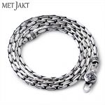 MetJakt Classic Bamboo Chain Necklace Solid 925 <b>Sterling</b> <b>Silver</b> Clavicle Chain for Women and Men Vintage Thai <b>Silver</b> <b>Jewelry</b>