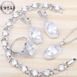 New Bridal White Cubic Zirconia <b>Jewelry</b> Sets Women Costume Silver 925 <b>Jewelry</b> With Earrings Bracelet Rings Pendant Necklace Set