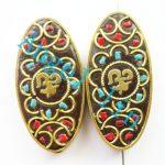 (2 pieces/lot)Nepal Tibetan Type Manual <b>Antique</b> Bead, Flat Oval Brass Embed Imitation Turquoises H64477 56x27x9mm