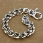 6 Length Heavy 925 Solid Sterling <b>Silver</b> Skulls Mens Biker Rocker Punk <b>Bracelet</b> 8F009 Free Shipping