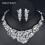 Mecresh Clear Crystal Wedding <b>Jewelry</b> Sets for Women Elegant Butterfly Bridal Party Necklace Earrings Sets Christmas Gift TL354