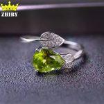 ZHHIRY Natural Peridot Stone Rings Genuine Solid 925 <b>Sterling</b> <b>Silver</b> Woman Gem Ring Fine <b>Jewelry</b>